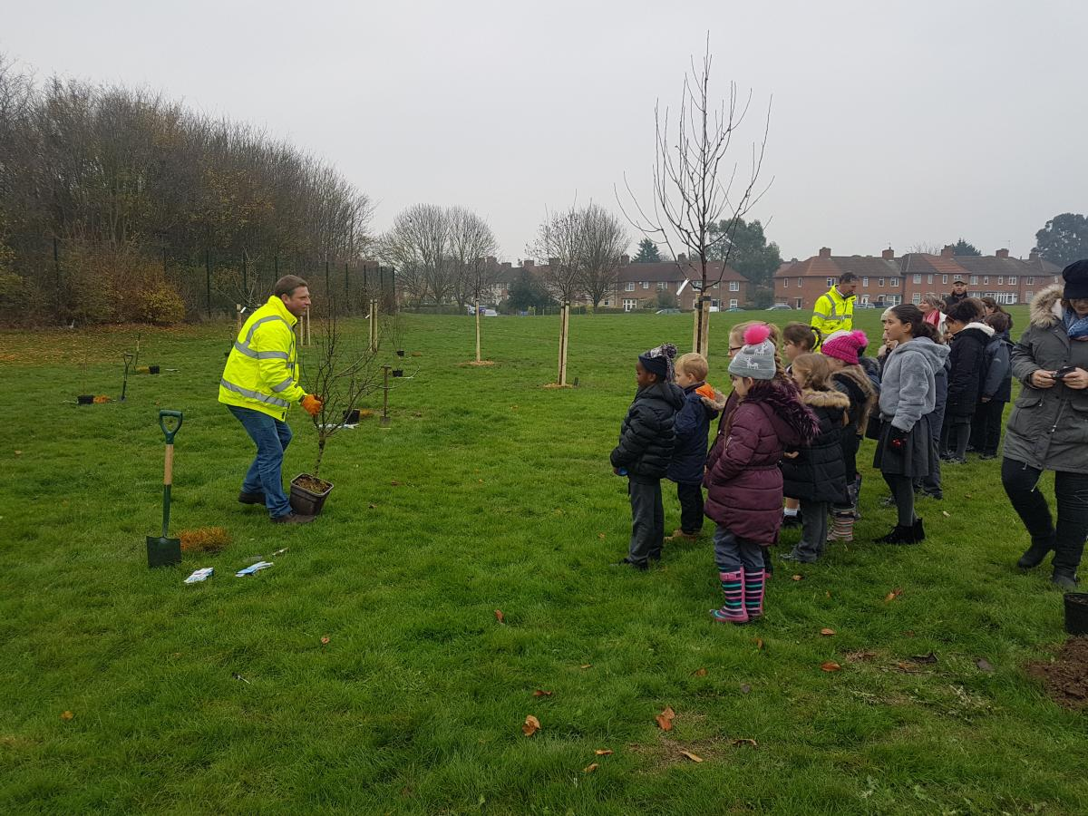Staff explaining how to plant trees to school children