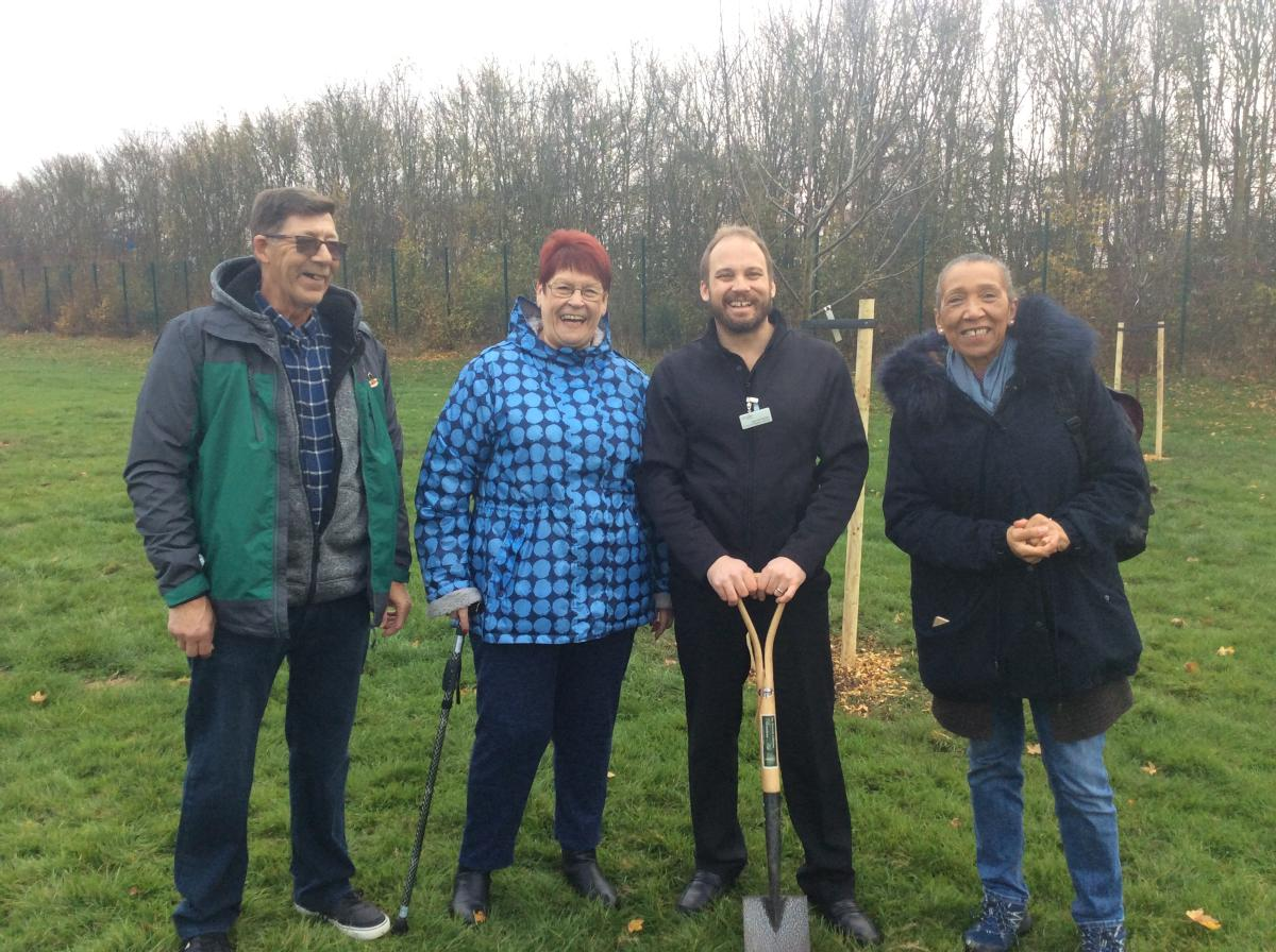 Councillors Crossby and Moral at tree planting